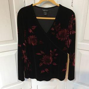 Lane Bryant Black & Red Velvet Floral Tunic 14/16